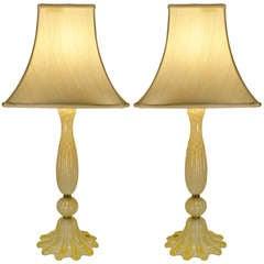 Pair of Murano Avventurina Italian Table Lamps