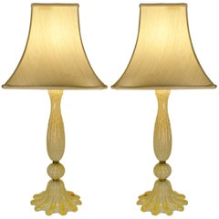 Pair of Murano Avventurina Italian Table Lamps