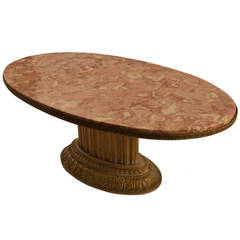 Grosfeld House Oval Marble Top Cocktail Table