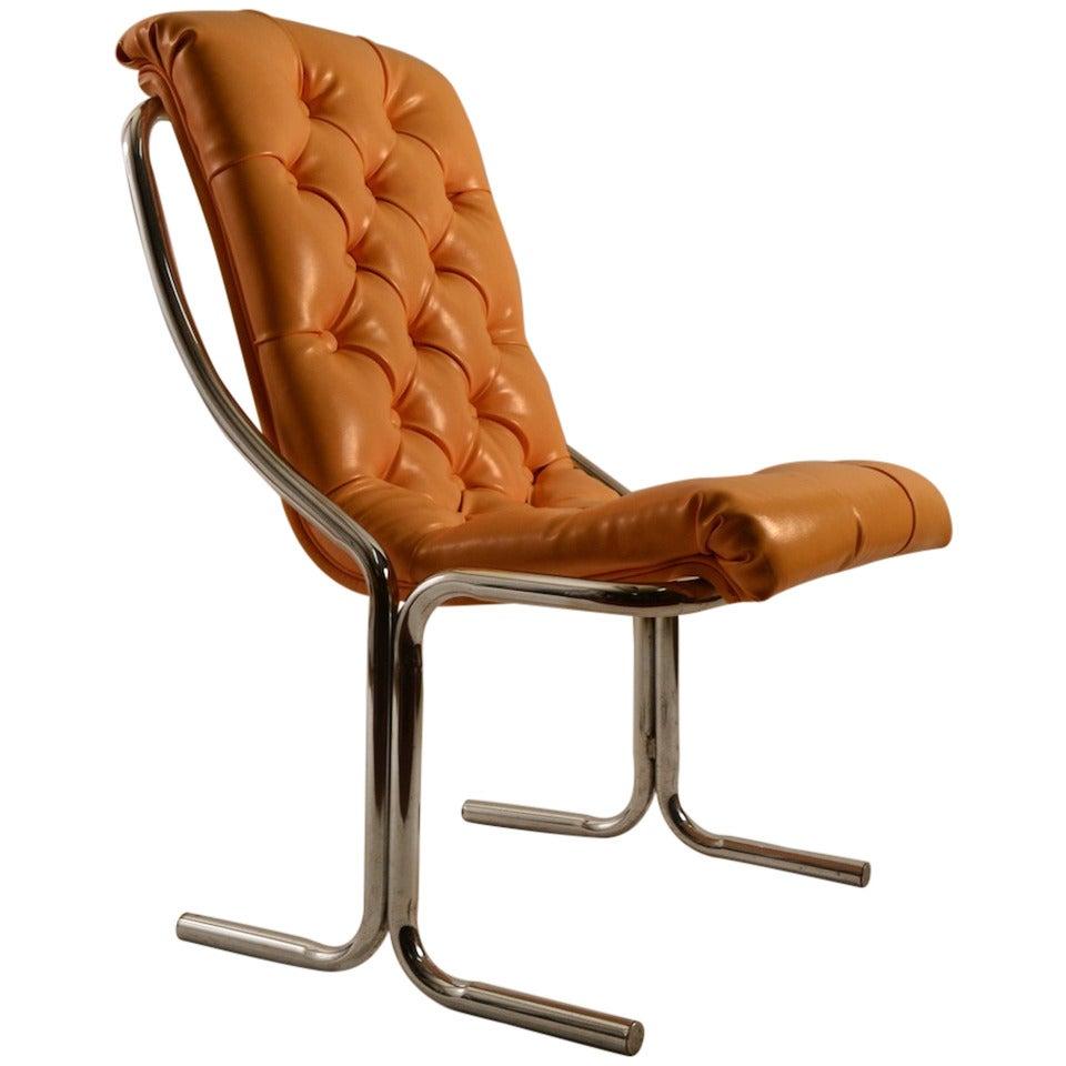 Tubular Chrome Tufted Vinyl Armless Chair