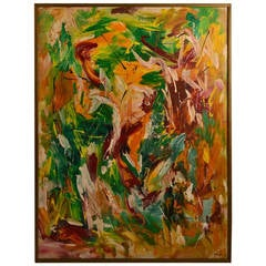 """Vintage Abstract Painting Signed """"G. Mugler"""""""
