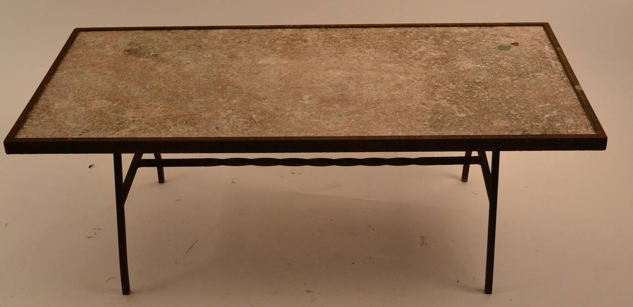 Stone Top Wrought Iron Base Coffee Table At 1stdibs