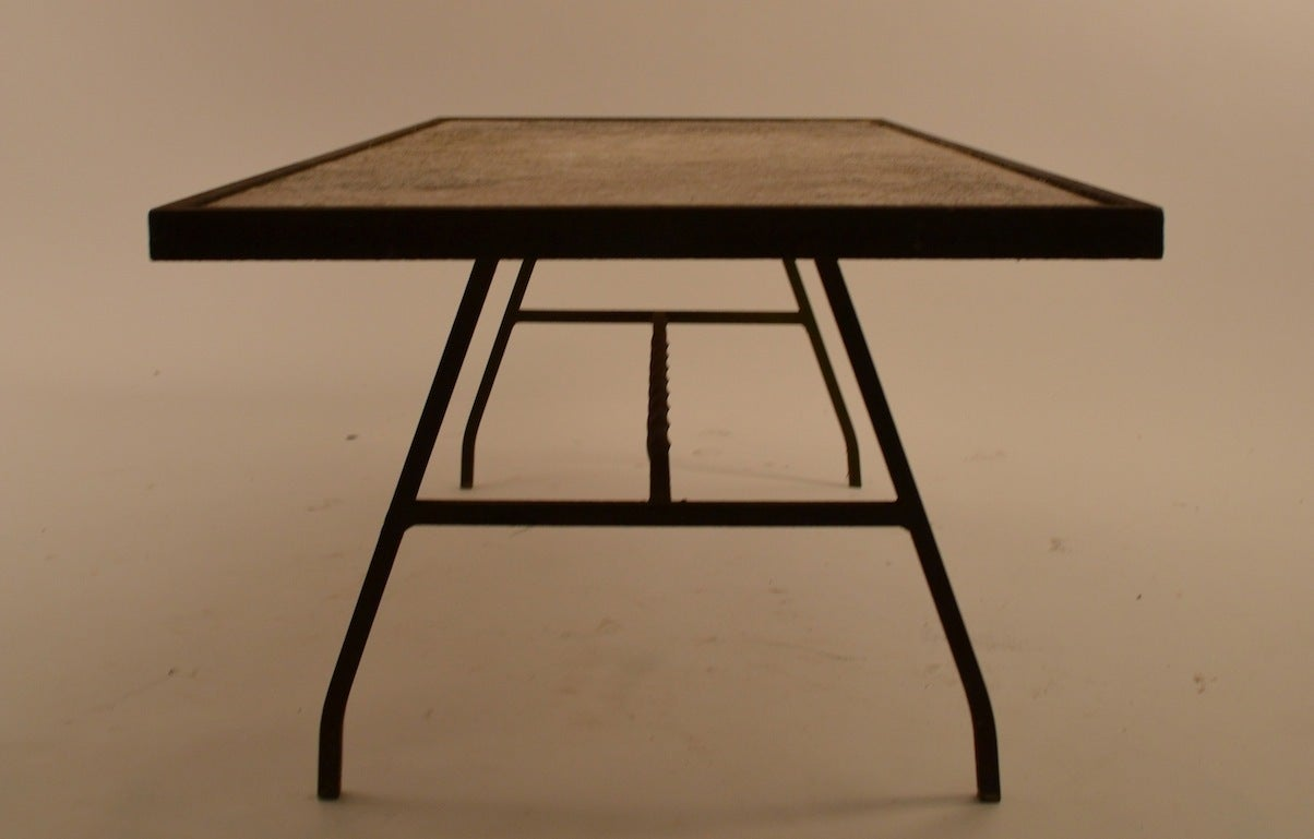 Stone top wrought iron base coffee table at 1stdibs for Wrought iron table bases marble top