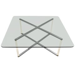 """X"" Base Chrome and Lucite Glass Top Coffee Table"