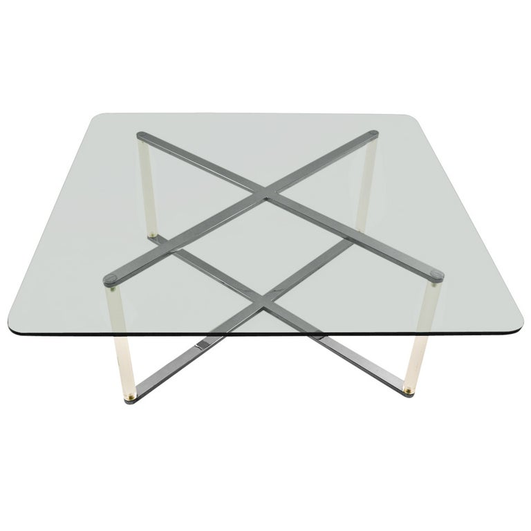 """X"" Base Chrome and Lucite Glass Top Coffee Table For Sale"