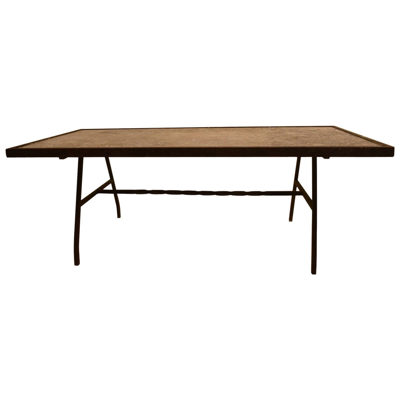 Stone top wrought iron base coffee table at 1stdibs Stone top coffee table