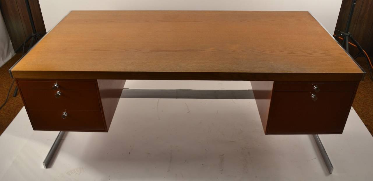 Metal And Wood Large Flat Top Desk For 1