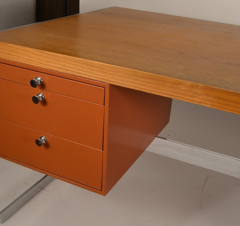 Metal and wood large flat top desk for sale at 1stdibs for Metal desk with wood top