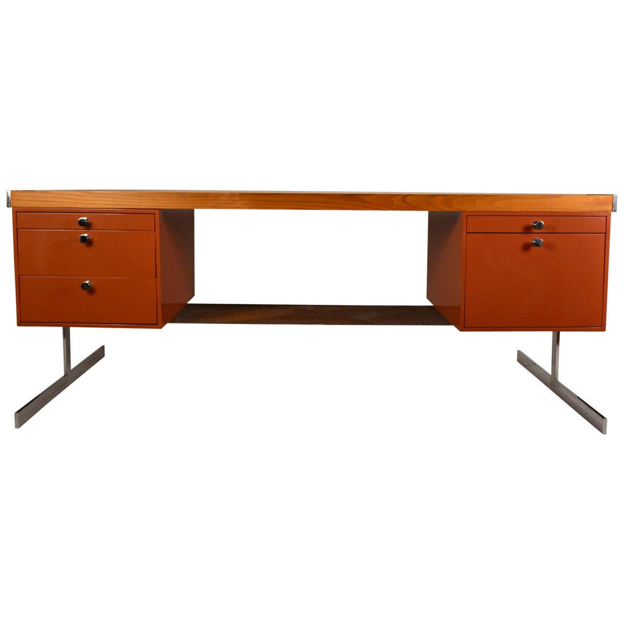 metal and wood large flat top desk . metal and wood large flat top desk for sale at stdibs