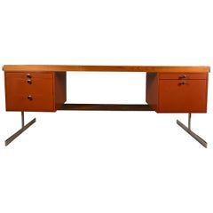 Metal and Wood Large Flat Top Desk