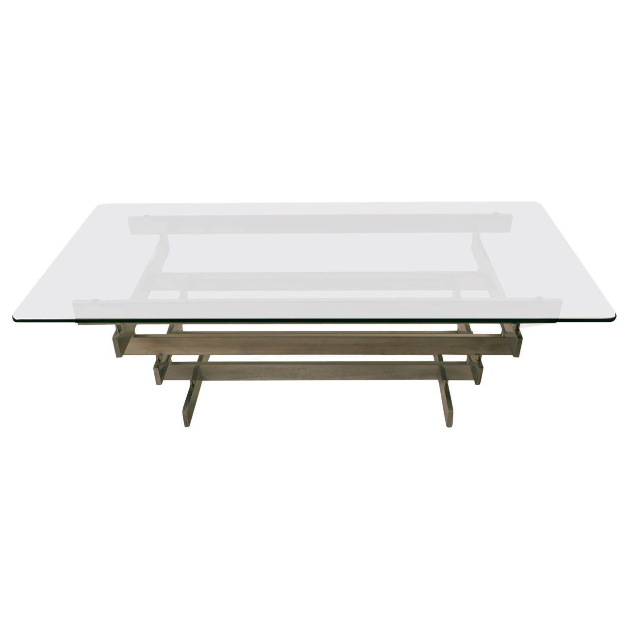 Superieur Stacked Aluminum Block Base Glass Top Coffee Table For Sale