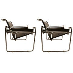Pair of Marcel Breuer Wassily Chairs Made in Italy