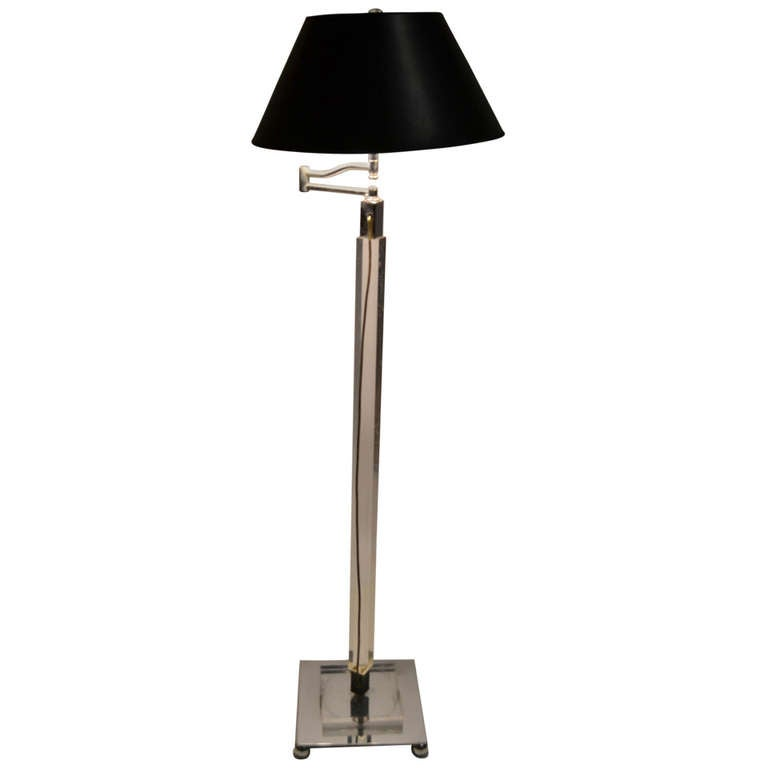 Lucite and Chrome Swing Arm Floor Lamp