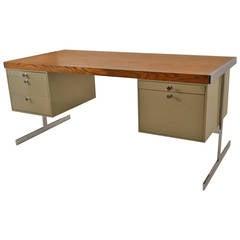 Mid-Century Steel and Oak Desk