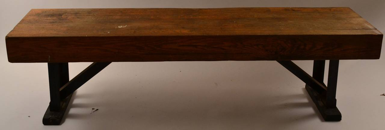 Industrial Bench With Angled Steel Legs And Thick Solid Wood Top 2