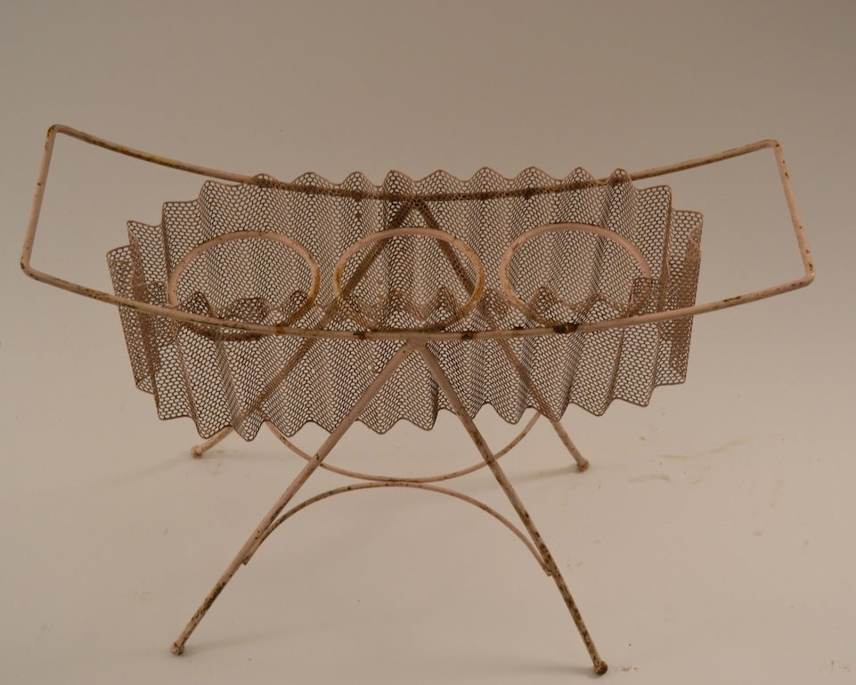 Mid-Century Modern Perforated Metal and Wrought Iron Plant Stand, Possibly Mategot For Sale