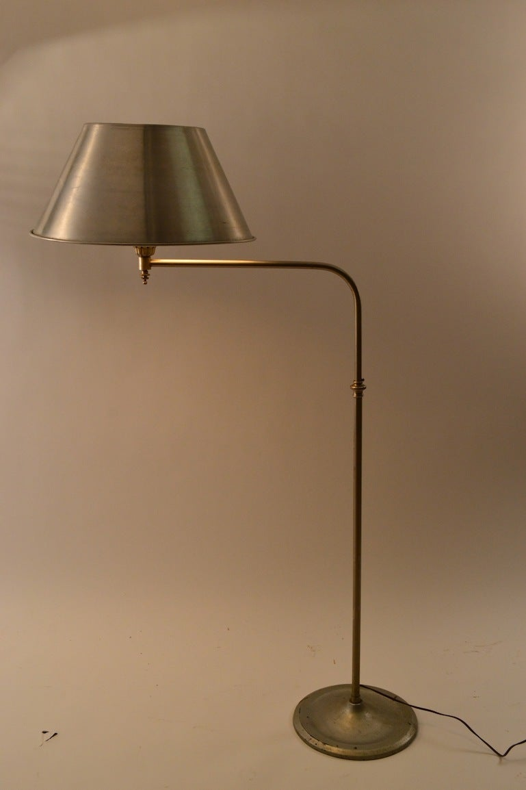 Mid-20th Century Adjustable Machine Age Industrial Floor Lamp For Sale