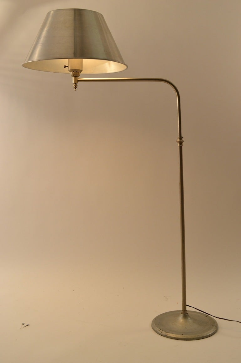 Adjustable Machine Age Industrial Floor Lamp For Sale 3