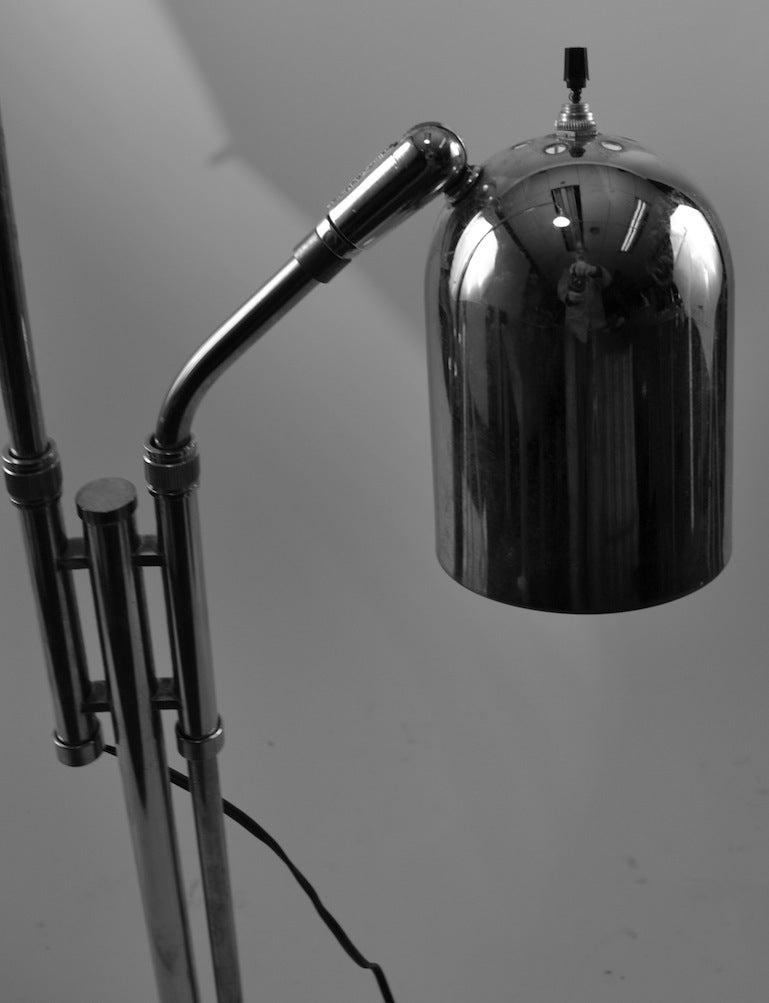 Mid-Century Modern Adjustable Chrome Two Light Floor Lamp For Sale
