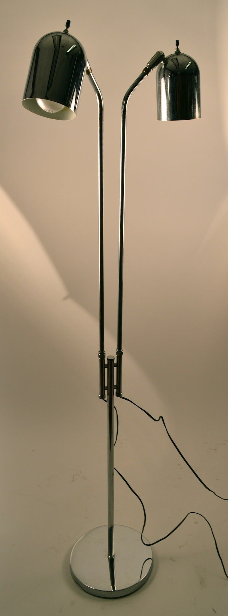 Adjustable Chrome Two Light Floor Lamp In Good Condition For Sale In New York, NY