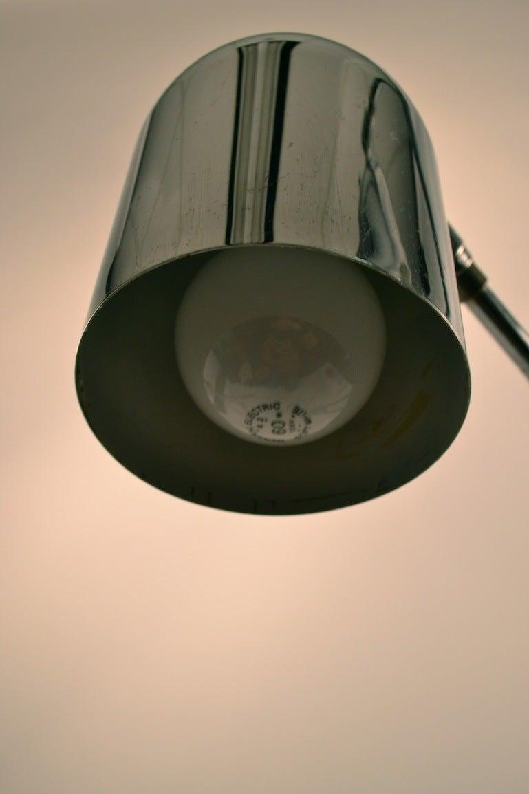 American Adjustable Chrome Two Light Floor Lamp For Sale