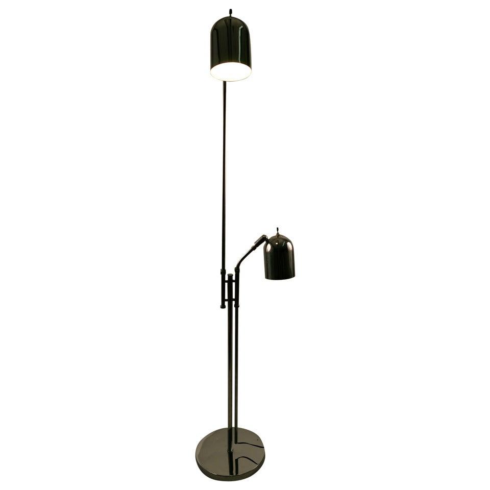 Adjustable Chrome Two Light Floor Lamp For Sale At 1stdibs