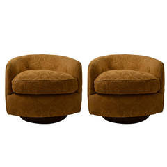 Pair Of 1970s Modernist Swivel Club Chairs At 1stdibs