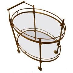 Brass and Glass Serving Oval Bar Cart