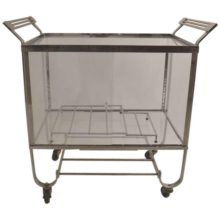 Treitel Gratz Nickeled Bar Serving Cart