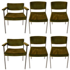 Set of Six Harvey Probber Dining Chairs 4 Side 2 Arm