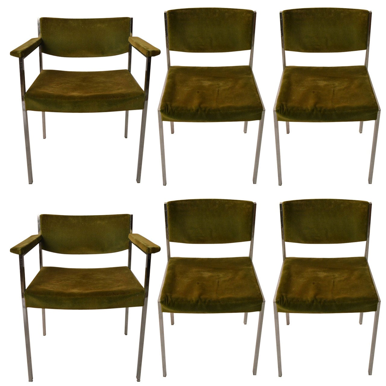 Set of Six Harvey Probber Style Dining Chairs 4 Side 2 Arm