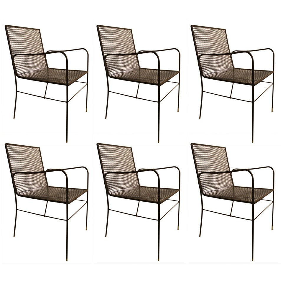Set of Six Woodard Dining Armchairs