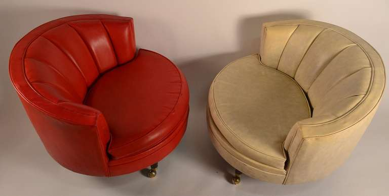 Pair Of Vinyl Circle Chairs For Sale At 1stdibs