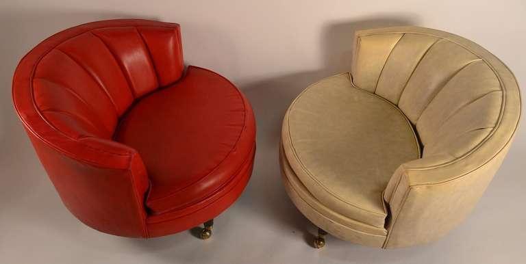 Pair of Vinyl Circle Chairs at 1stdibs
