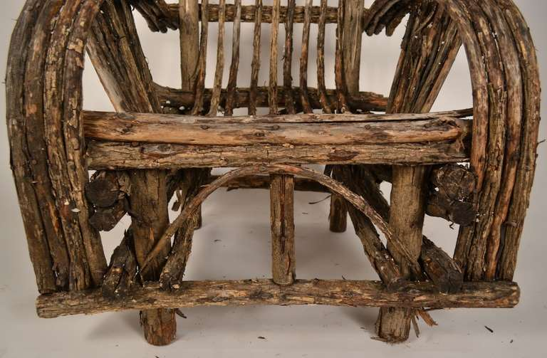 Adirondack Twig Stick Rustic Lounge Chair at 1stdibs