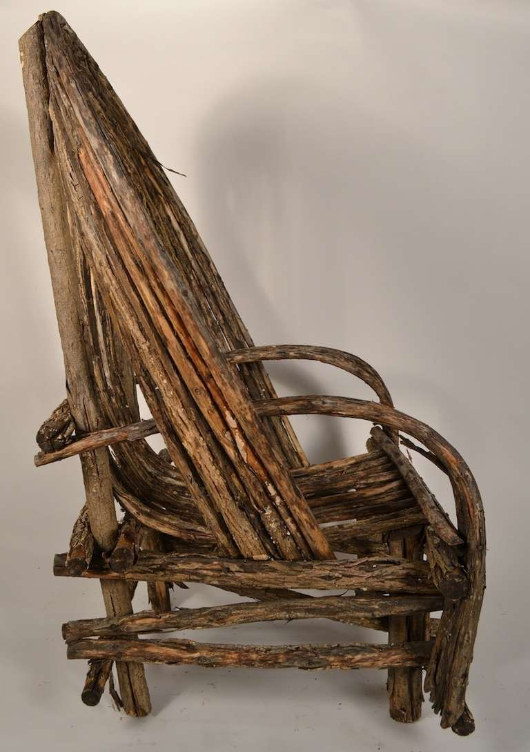 Adirondack Twig Stick Rustic Lounge Chair For Sale At 1stdibs