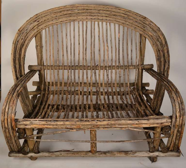 Adirondack Settee, Made Of Bent Sticks, And Twigs. Rustic Folky Style, Twig