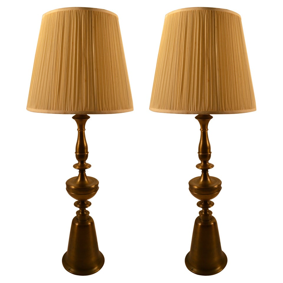 Pair Of Tall Brass Table Lamps For Sale At 1stdibs