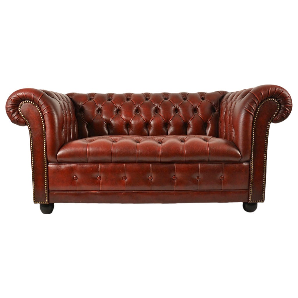 Burgundy leather chesterfield loveseat at 1stdibs Leather chesterfield loveseat