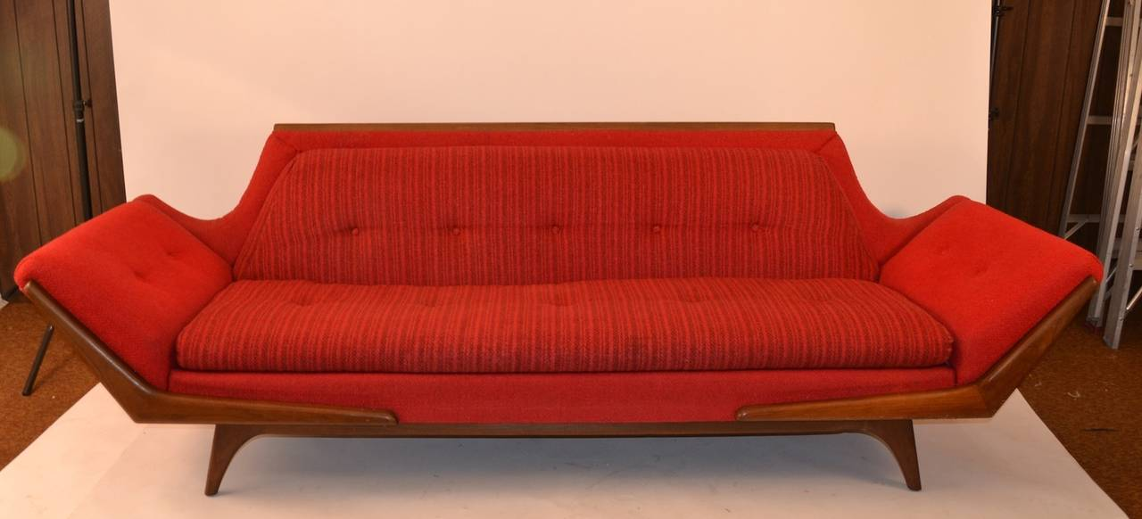 Gondola Sofa In Original Red Fabric. Upholstery Shows Minor Wear, Normal  And Consistent With