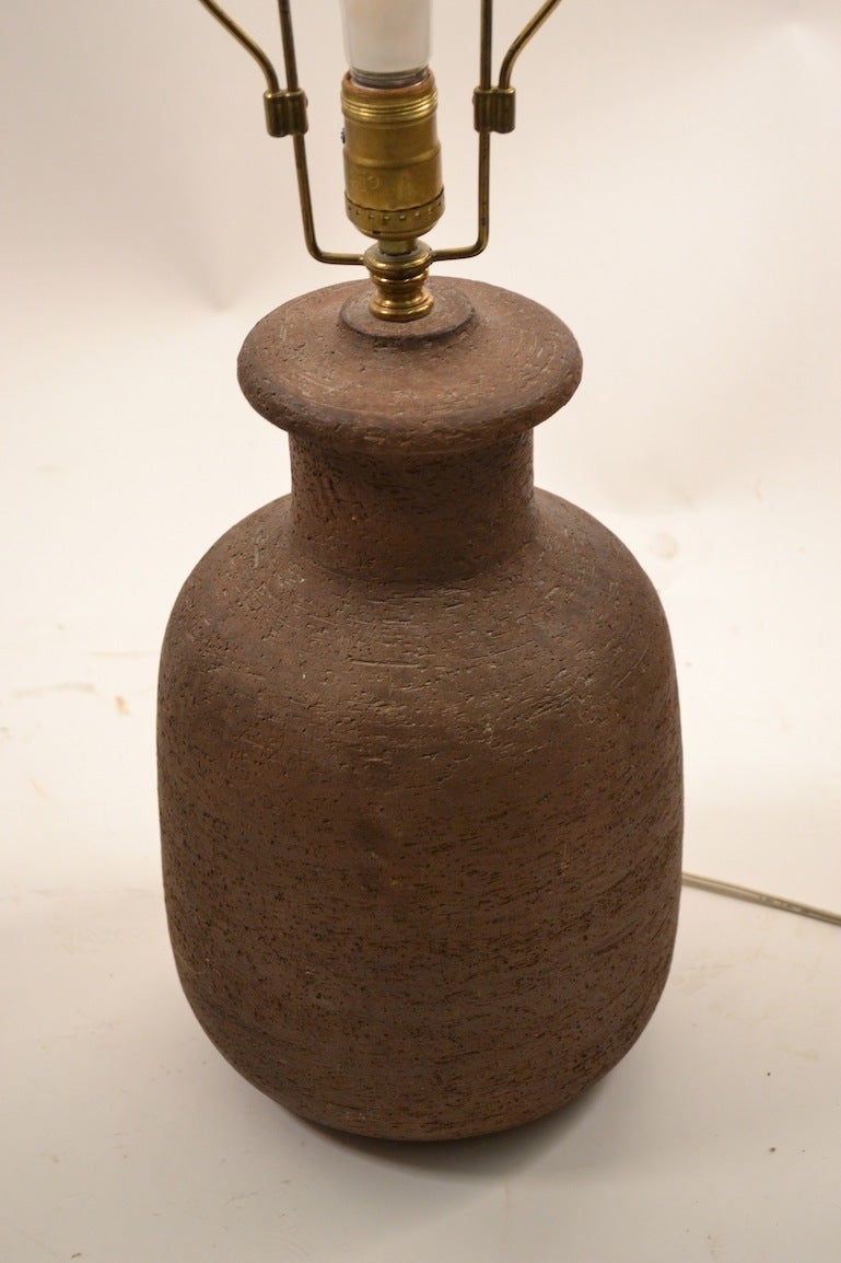 Pair Italian Stoneware Pottery Lamps At 1stdibs