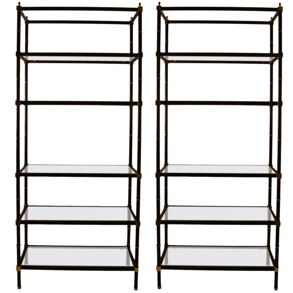 pair of matte black and brass finish glass shelf etageres. Black Bedroom Furniture Sets. Home Design Ideas