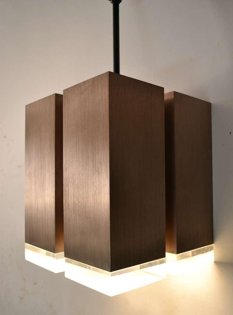 Four Light Brushed Aluminum And Cast Lucite Cubist Light