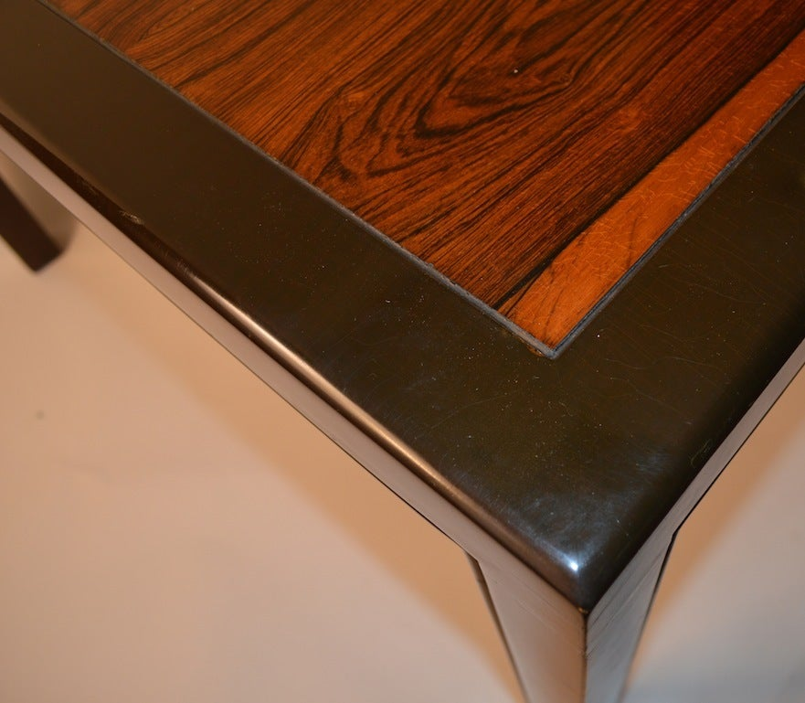 Mid-Century Modern Elegant and Sleek Probber Rosewood  Dining Table with Three Leaves