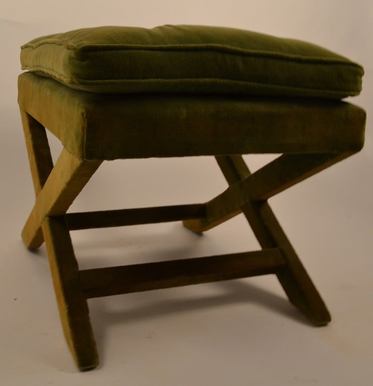Upholstered X Bench Pouf After Billy Baldwin At 1stdibs