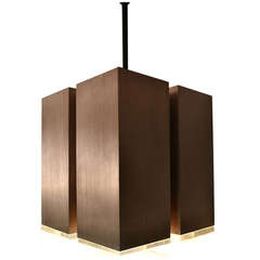 Four-Light Brushed Aluminum and Cast Lucite Cubist Light Fixture