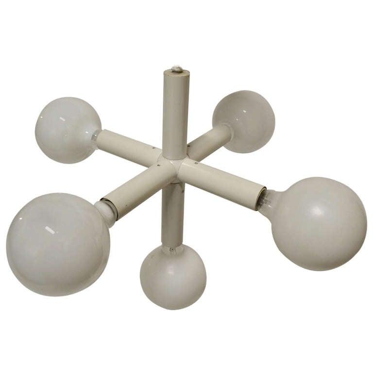Five Light Lightolier  White on White Molecule Chandelier