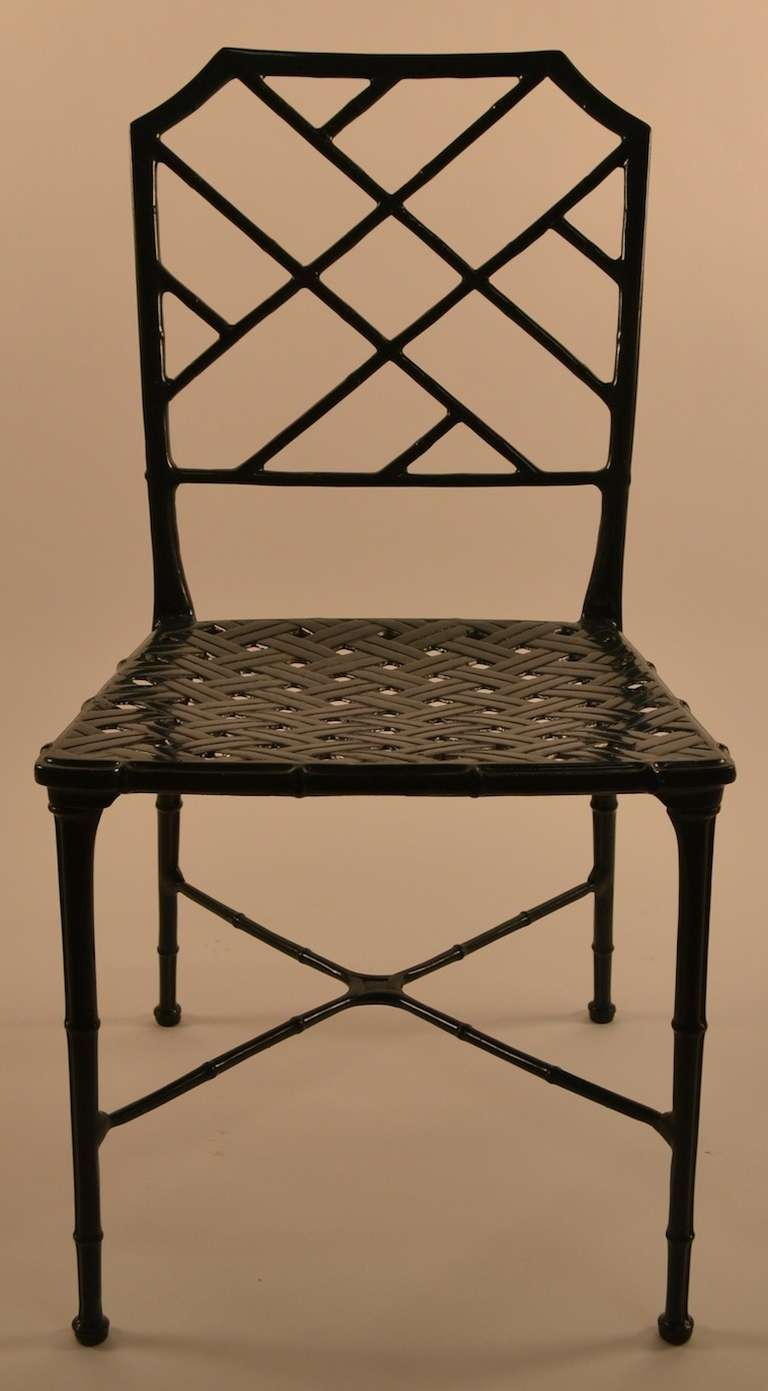 Set of six brown jordan cast aluminum faux bamboo dining chairs at 1stdibs - Aluminum dining room chairs ...