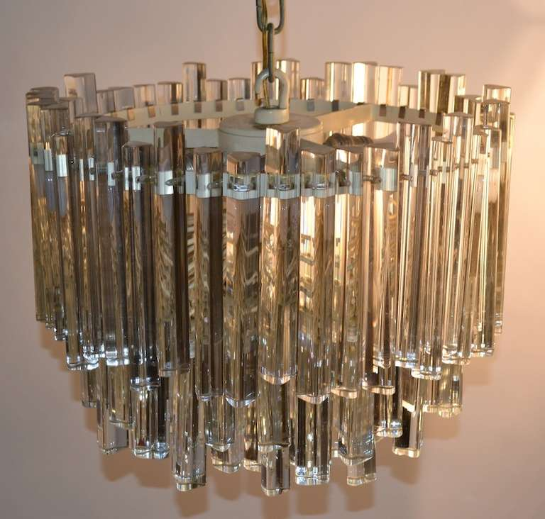Unusual Multi Tiered Venini Crystal Chandelier For Sale at