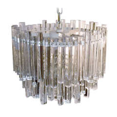 Unusual Multi Tiered Venini Crystal Chandelier
